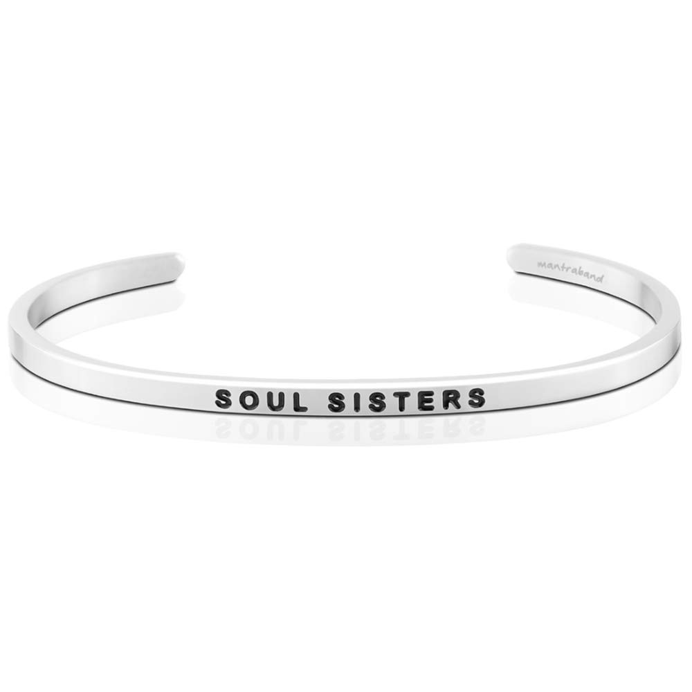 MantraBand Bracelet - Soul Sisters - Inspirational Engraved Adjustable Mantra Band Cuff Bracelet - Silver - Gifts for Women (Grey) by MantraBand