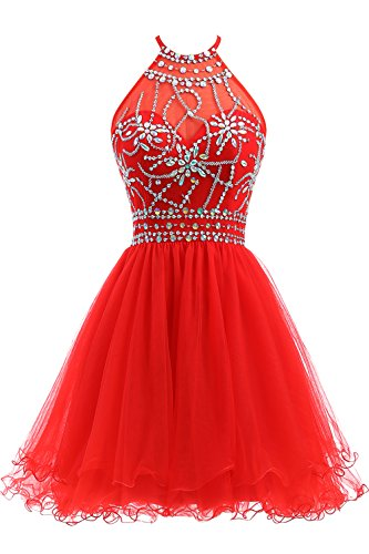 Ellames Women's Beaded Halter Homecoming Dress Short Tulle Prom Dress Red US 2