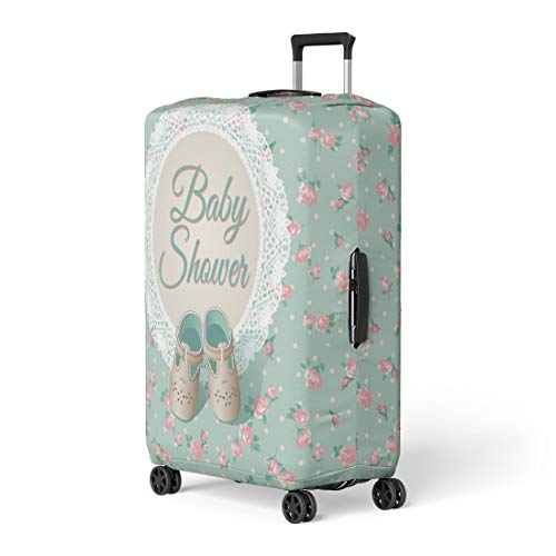 Pinbeam Luggage Cover Chic Baby Arrival Place Green Shabby Child Shoes Travel Suitcase Cover Protector Baggage Case Fits 26-28 inches