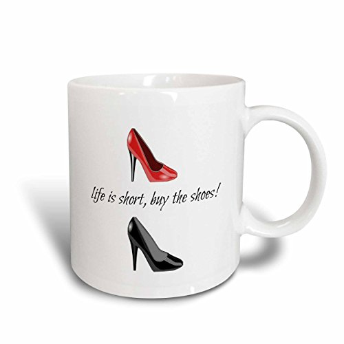 3dRose 172388_1 Life is Short Buy Picture of Shoes Lettering Ceramic Mug, 11oz, Black ()