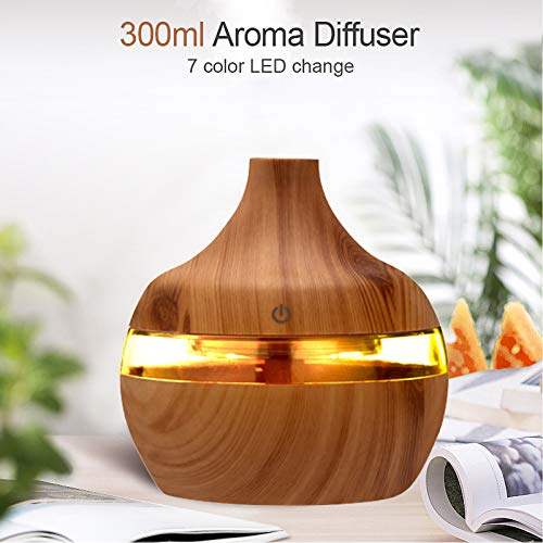 Humidificador de aromaterapia, 300ML Difusores de aceites esenciales, Difusor LED, Portátil Difusor de Aceites Esenciales, USB Mini Humidificador (Amarillo)