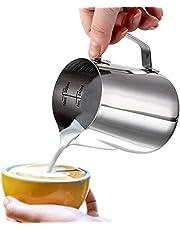 Dailyart Milk Cup Pitcher Foam Scale Cup Milk Latte Coffee Jug Stainless Steel Milk Frothing Jug (600ml/20fl.Oz) 。ュ