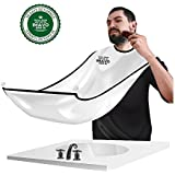 Beard Bib,IMAVO Beard Bib Shaving Mirror & Beard Catcher Apron for Shaving-Trim Your Beard in Minutes Without The Mess and Stop Clogging Your Sink (White)