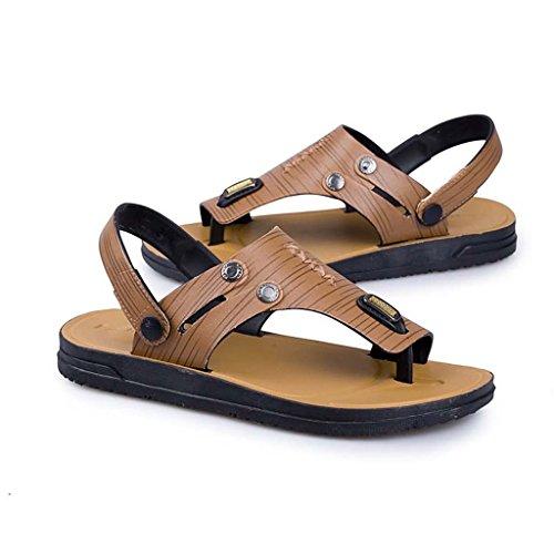 ZXCV Zapatos al aire libre Zapatillas ocasionales de los hombres respirables de las sandalias puras de los hombres Amarillo claro