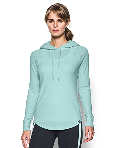 Under Armour Women's Waffle Hoodie, Aqua Falls (703), X-Large
