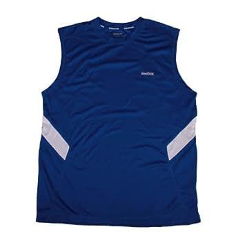 Reebok Mens Hydromove Athletic Tank Top Shirt (Large, Blue/White)