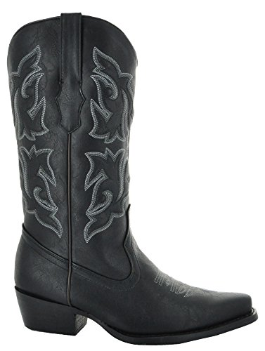 Country Love Pointed Toe Women's Cowboy Boots W101-1001 (7, Black) by Country Love Boots (Image #1)