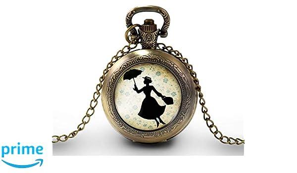 Collar de reloj de bolsillo Mary Poppins- Regalo de Navidad para regalo mujer - San Valentín-: Amazon.es: Handmade