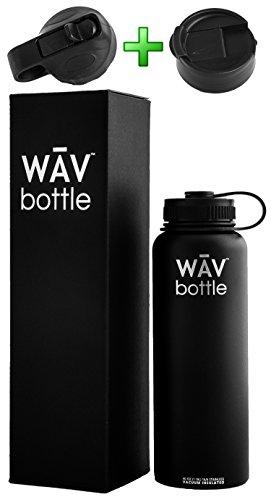 3 in 1 WAV Bottle: Vacuum Insulated Stainless Steel Water Bottle w/ Straw Lid & Flip Lid   40oz 32oz 24oz
