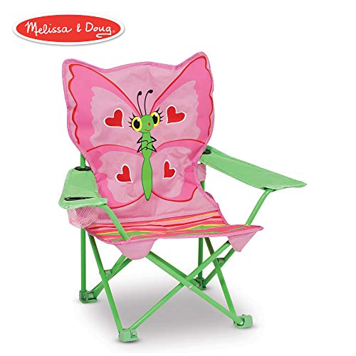 (Melissa & Doug Bella Butterfly Child's Outdoor Chair (Easy to Open, Handy Cup Holder, Cleanable Materials, Carrying Bag, 23.7