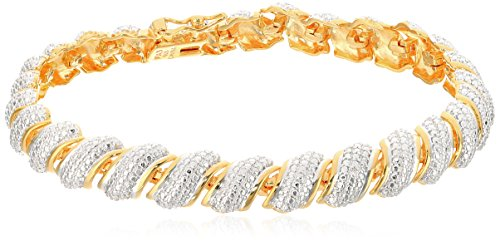 18k Yellow Gold Plated Sterling Silver T - Sterling Diamond Two Tone Bracelets Shopping Results
