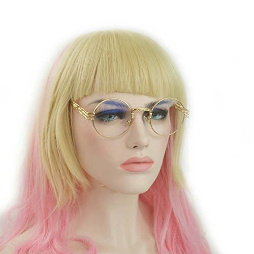 MINCL/Circle Wire Metal Frame Clear Lens Glasses Fashion and Cute (gold, - Cute Circle Glasses