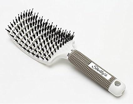 Curvado y con ventilación cepillo para desenredar el pelo | Natural mezclado con plástico cerdas de