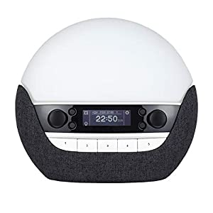 Lumie Bodyclock Luxe 750DAB – Wake-up Light with DAB Radio, Bluetooth Speakers, Low-Blue Light for Sleep