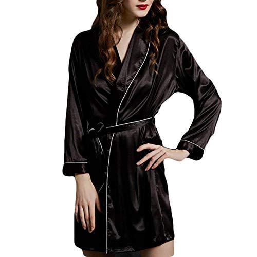 cuello Camisones V Pijamas Pijama Albornoz Basic Con Primavera Otoño Cinturón Manga Largos Larga E Bonita Kimono Satín Ropa Mujer Moderno FfqOzwpxWq