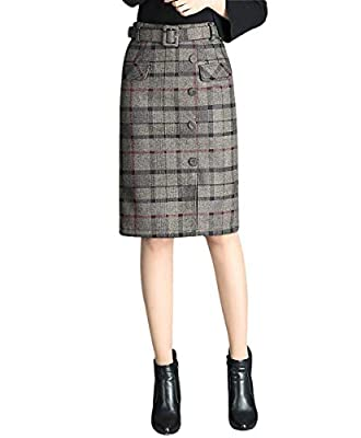 Wincolor Women's Wool Blend Plaid Checked Midi Pencil Tartan Skirt Knee Length with Waistband
