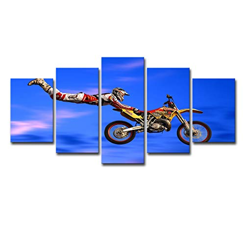 SHOMPE Wall Art Canvas Paintings 5 Panels Motocross Limit Jumps Group Poster HD Prints Motorcycle (No Frame) Unframed Artwork for Living Room Modern Home -