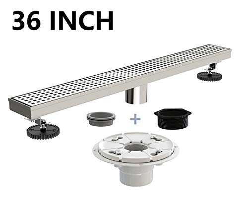 Nickel Brushed Base - Ushower Stainless Steel Linear Drain 36 Inch with Shower Drain Base, Grate Cover Linear Floor Drain Brushed Nickel, Rectangle Shower Bathroom Drain with Leveling Feet, Threaded Adapter