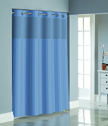 Hookless RBH35MY055 Victorian Satin Stripe Shower Curtain with PEVA liner - Midnight
