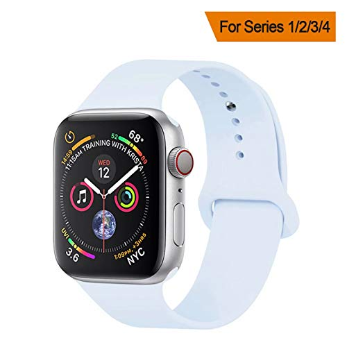 YANCH Compatible with for Apple Watch Band 42mm 44mm, Soft Silicone Sport Band Replacement Wrist Strap Compatible with for iWatch Nike+,Sport,Edition,M/L,Size,Sky Blue