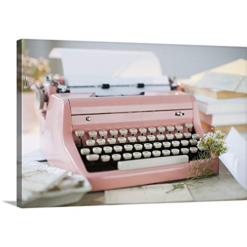 """Premium Thick-Wrap Canvas Wall Art Print Entitled Letters by Antique Typewriter 24""""x16"""""""