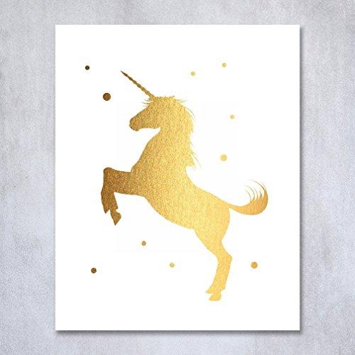 unicorn gold foil print poster