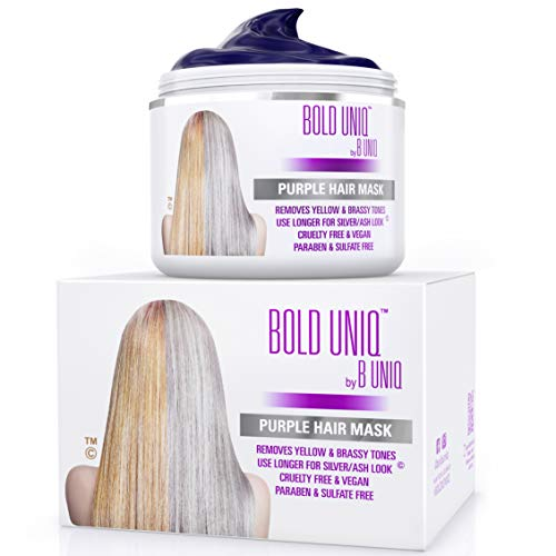 Purple Hair Mask for Blonde, Platinum & Silver Hair – Banish Yellow Hues: Blue Masque to Reduce Brassiness & Condition…