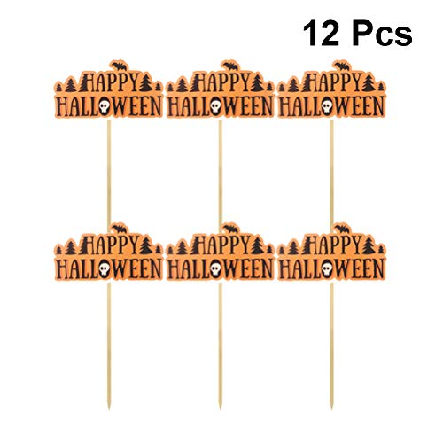 FENICAL Happy Halloween Cake Toppers Party Pumpkin Pics Cupcake Fruit Inserts Party Supplies 12pcs]()