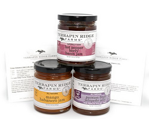Terrapin Ridge Farms Sweet & Spicy Gourmet Jam Sampler Pack Set of 3 Jars with Recipe Cards - Hot Pepper Bacon Jam - Mango Habanero Jam - Passion Fruit Jalapeno - Mango Pepper Jelly