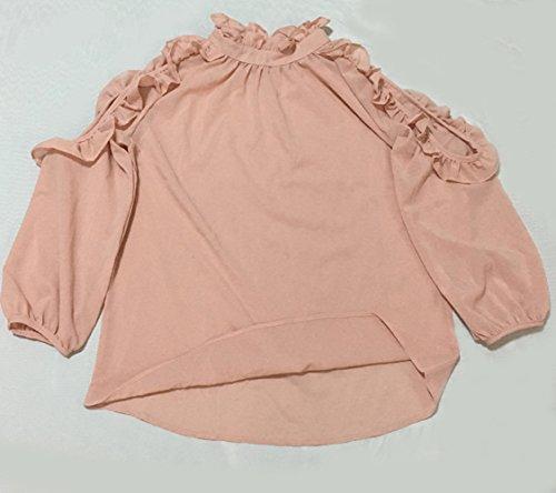 Spalline fashion Tinta A Giovane Bluse Tops E shirt Rosa Autunno Unita Primavera Manica Senza Lunga Maglie Sexy Simple Camicie T Tumblr Moda Femminile dgxZd8