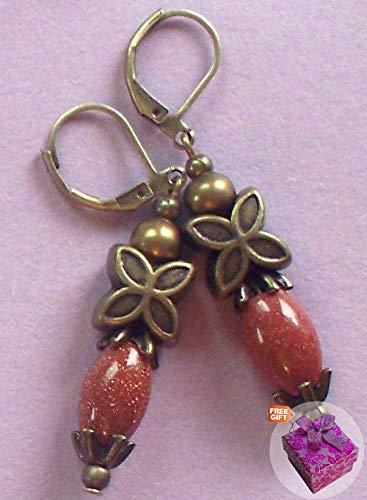 Goldstone Clip - Goldstone Cylinder 4 Petal Cap Earring Bronze Leverback Artisan Earrings For Women Set + Gift Box For Free