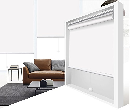 Light Block Shade (ZY Blinds Cordless Roller Shades 100% Blackout Custom Made UV Protection Enery Saving Block 100% Light Window Shades Blinds For Home, Hotel, Club, Restaurant 24