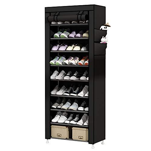 UDEAR 9 Tier Shoe Rack with Dustproof Cover Shoe Shelf Storage Organizer Black (Closet Sneaker)