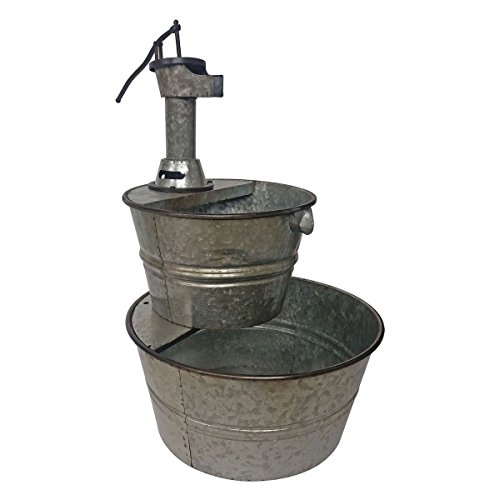BACKYARD EXPRESSIONS PATIO · HOME · GARDEN 906029 Galvanized Two Tier Metal Barrel Pump Fountain, - Fountain Pump Old Fashioned