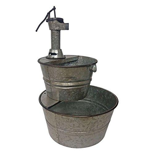 Cheap Backyard Expressions 906029 Galvanized Two Tier Metal Barrel Pump Fountain, Silver