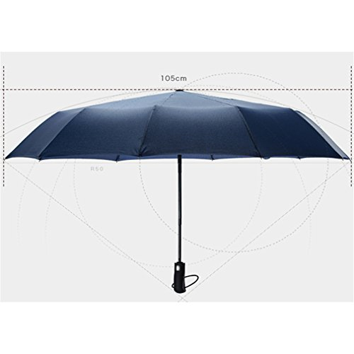 Guoke A Key To Business Men And Women Fully Automatic Folding Umbrella With Fine Rain Two King-Size Rugged, Sapphire Blue by Guoke (Image #2)