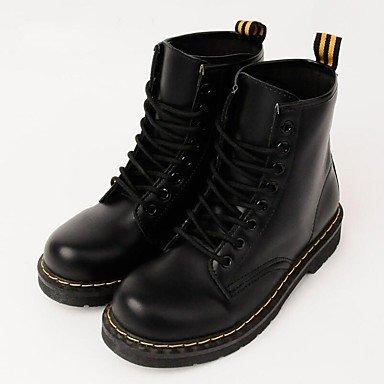 boîtes de rond Demi Plat DESY Bout Talon Bottes Chaussures Pour Bottine Automne Flocage Hiver Combat black Femme Botte Similicuir Combinaison wOqYxq4p0