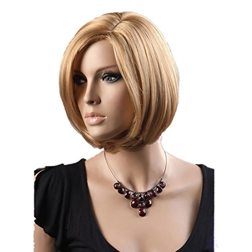 Gooaction Women Sexy Short Mixed Color Bob Wig Light Blonde and Half Blonde Golden Synthetic Hair Wigs