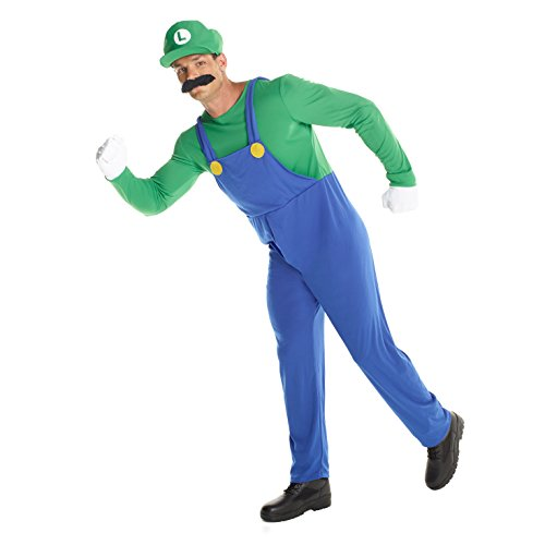 Morph Adult Super Luigi Costume, 80's Plumber Gaming Outfit Size Std 42-44