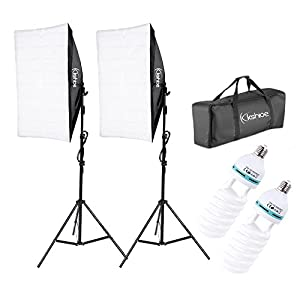 "Kshioe 50x70cm/19.69""X27.56"" Photography Softbox Lighting Kit 1350W Continuous Lighting System Photo Equipment Soft Studio Light With Light Stand And Convenient Carry Bag"