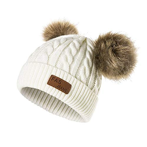 Infant Toddler Beanie Woolen Hat  Pure Color Winter Twist Double Pom Pom Wool Knitted Cap for 0-3 Years Old (0-3 Years Old, B- White)
