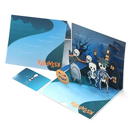 (KINHOO 3D Skeleton Halloween Pop-up Card Scary Skull Greeting Card, Trick Or Treat Halloween Invitation Card)