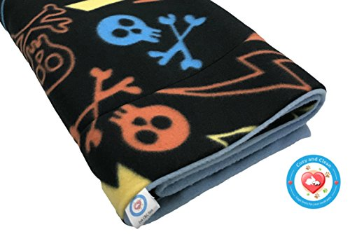 Guinea Pig Fleece Cage Liner, Chalk Skulls & Crossbones Absorbent Liner, Midwest Size, Cozy and Clean | Washable and Reusable | Grey on Back (Fleece Grey Skulls And Crossbones)