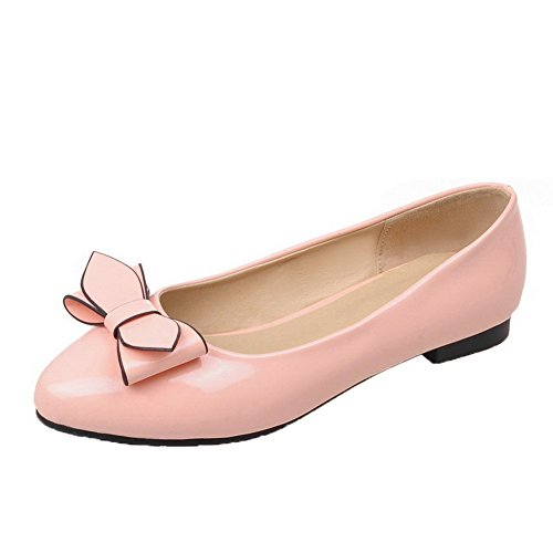 Allhqfashion Dames Gesloten Teen Pull-on Pu Solide Lage Hak Pumps-schoenen Roze