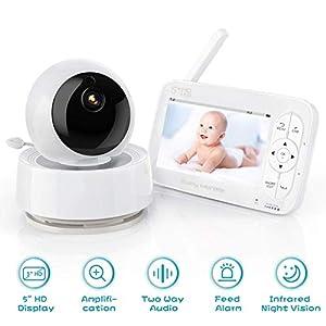 Babyphone Caméra Moniteur Bébé, Babyphone Vidéo 720P HD 5″ Angle 360 °, Portée 300M, Vision Nocturne, Conversation Bidirectionnelle, Mode économie D'énergie, Détection du son et de la Température