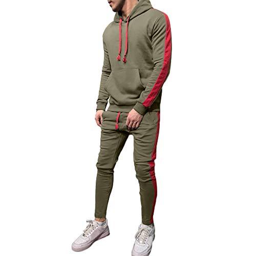 Limsea Men's Autumn Winter Patchwork Hoodie Sweatshirt Top Pants Sets Suit Tracksuit(Green,XXL)