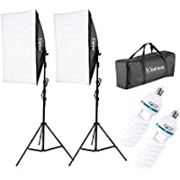 Kshioe 50x70cm/19.69X27.56 Photography Softbox Lighting Kit 1350W Continuous Lighting System Photo Equipment Soft Studio Light With Light Stand And Convenient Carry Bag