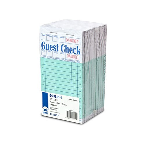 Royal Green Guest Check Paper, 1 Part Booked with 16 Lines, Package of 10