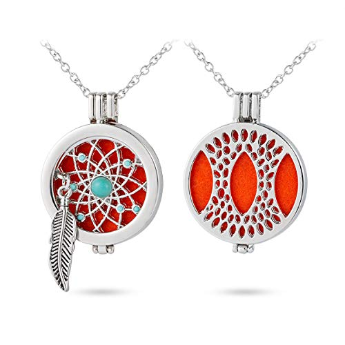 GIONO Dreamcatcher Aromatherapy Essential Oils Necklace Diffusser Hollow Locket Pendant 35MM Angel Wing Charms Jewelry
