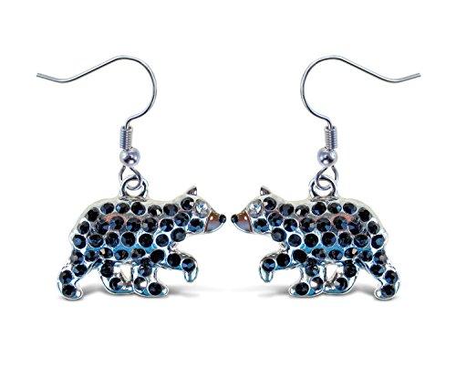 Puzzled Silver Black Bear Fish Hook Earrings, 1.5 Inch Fashionable & Elegant Jewelry Rhinestone Studded Earring For Casual Formal Attire Wildlife Animals Themed Girls Teens Women Fashion Ear -